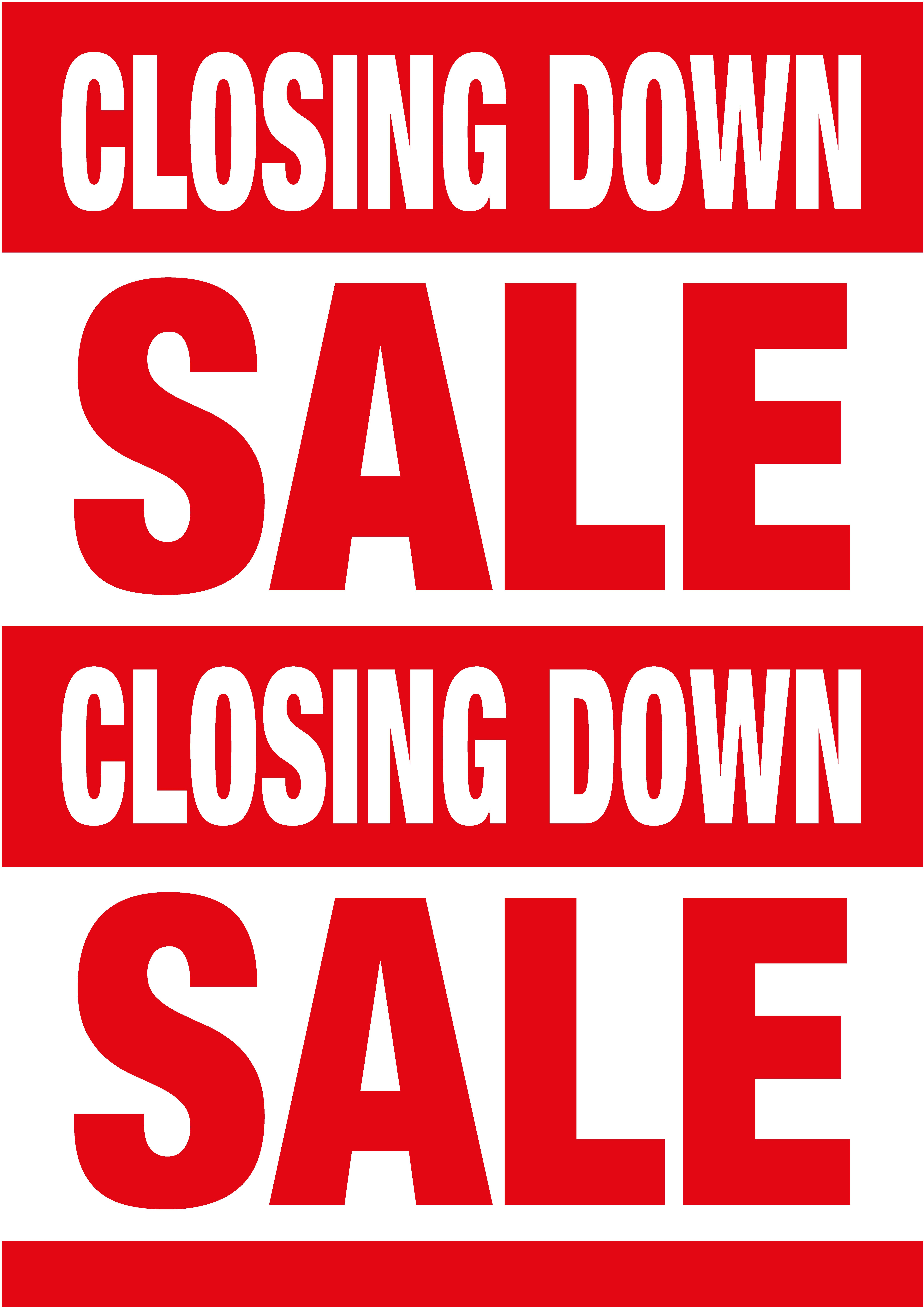 closing down sale poster